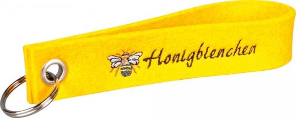 Filzschlüsselanhänger Honigbienchen gelb