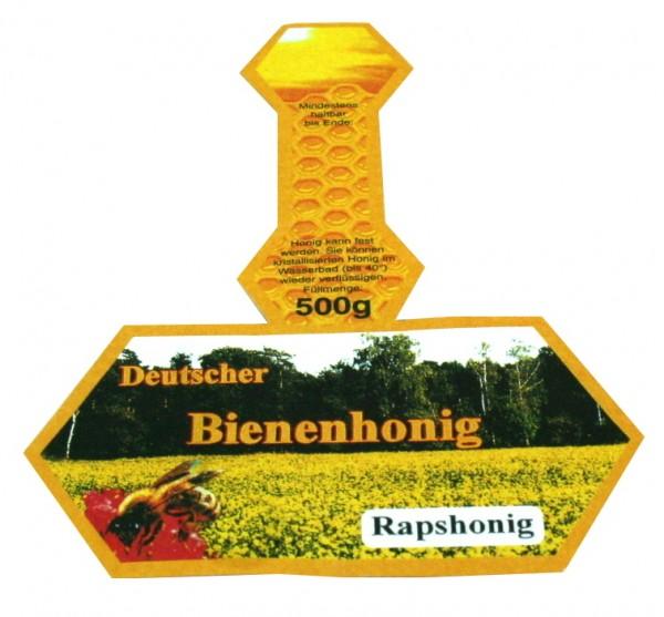 500g Honigglasetikett Rapshonig