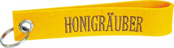 Filzschlüsselanhänger Honigräuber gelb