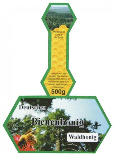 500g Honigglasetikett Waldhonig