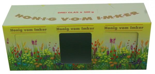 Geschenkschachtel 3er 500g Blumenmotiv