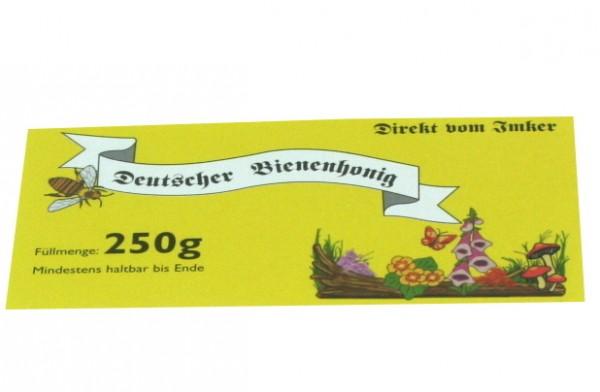 250g Honigglasetikett gelb