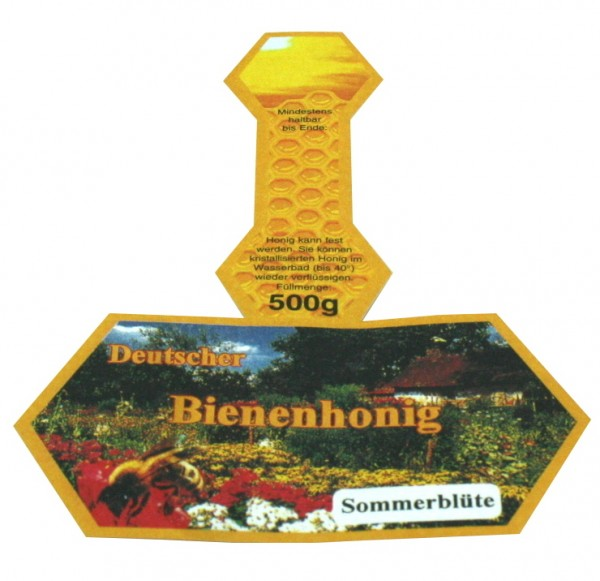 500g Honigglasetikett Sommerblütenhonig