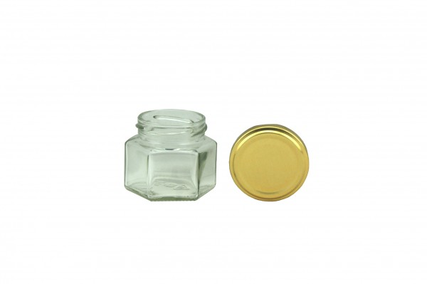 TO Sechseckglas 45 ml gold